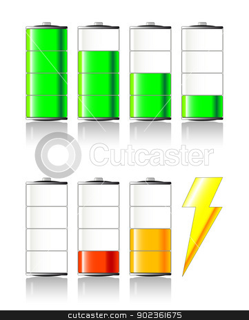 Battery Charging stock vector clipart, A selection of 'battery charging' icons/symbols. by Kotto