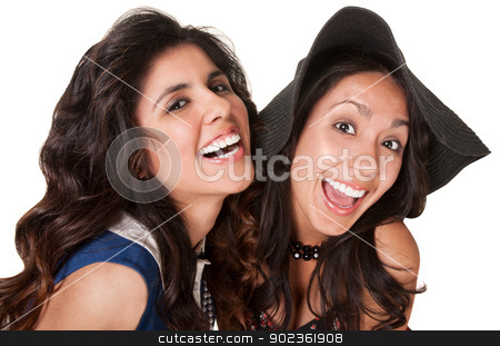 Laughing Sisters stock photo, Laughing Hispanic sisters over isolated white background by Scott Griessel