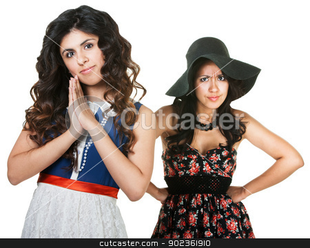 Jealous Sister stock photo, Jealous sister with innocent woman in front on white background by Scott Griessel