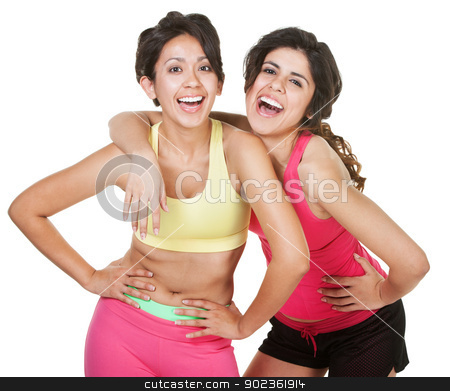 Giggling Workout Girls stock photo, Giggling young latina workout women on white background by Scott Griessel