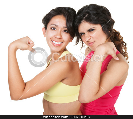 Smiling Fit Women Flexing stock photo, Smiling fit female friends flexing their biceps by Scott Griessel