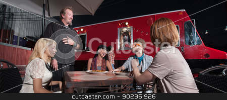 Hipsters Talking with Chef Outside stock photo, Hipster and friends talking with chef at canteen diner by Scott Griessel