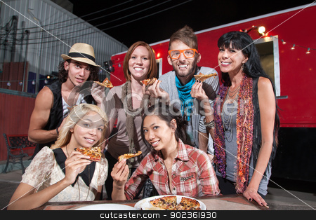 Happy Patrons Holding Pizza stock photo, Six smiling mixed people holding pizza slices in front of food truck by Scott Griessel