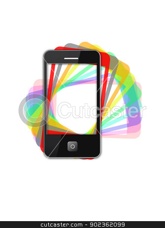 Modern phone of type  ipad with color shadows stock photo, image of modern phone of type  ipad with color shadows by Alexander Matvienko