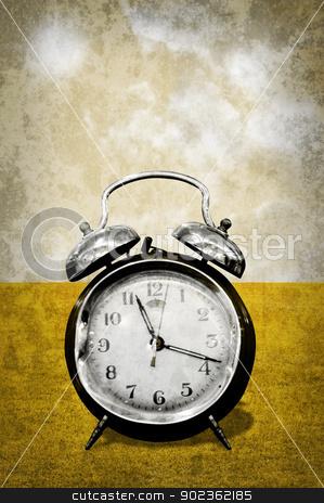Alarm clock in retro style stock photo, Alarm clock with field in retro style by pixbox77