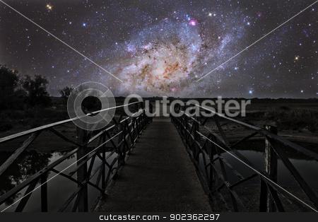 Bridge to the stars stock photo, Bridge on a distant planet near the triangulum galaxy by Reinhold Wittich
