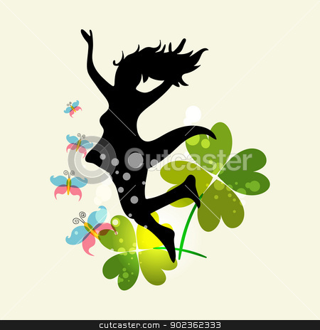 Spring Woman freedom stock vector clipart, Happy jumping woman with spring elements. EPS10 file version. This illustration contains transparencies and is layered for easy manipulation and custom coloring by Cienpies Design
