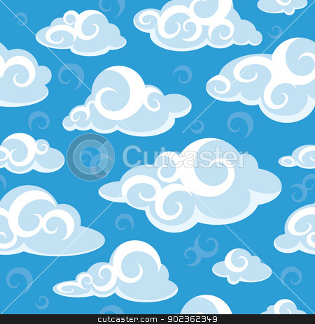 abstract seamless pattern with clouds stock vector clipart, abstract seamless pattern with clouds vector illustration by SelenaMay