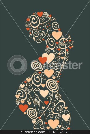 Love flowers woman stock vector clipart, Pregnant woman love flowers silhouette background. Vector file layered for easy manipulation and coloring. by Cienpies Design