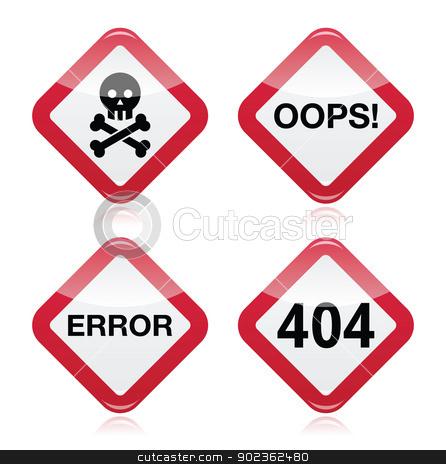 Danger, oops, error, 404 red warning sign stock vector clipart, Danger, oops, error, 404 red warning sign by Agnieszka Murphy