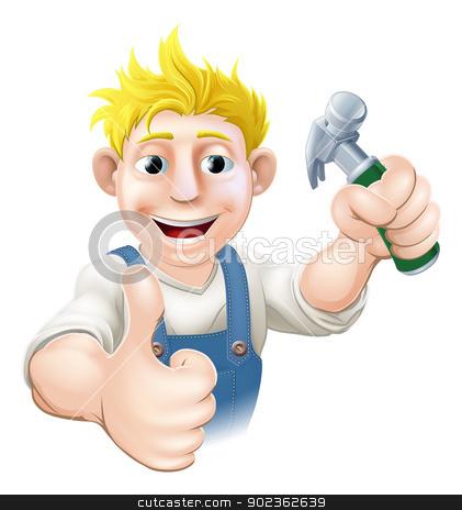 Cartoon carpenter or construction guy stock vector clipart, An illustration of a happy cartoon carpenter or construction guy holding a hammer by Christos Georghiou