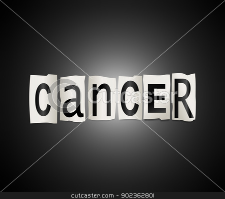 Cancer concept. stock photo, Illustration depicting cutout printed letters arranged to form the word cancer. by Samantha Craddock