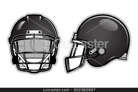 Football helmet stock vector clipart, American football helmet isolated on white by Moenez
