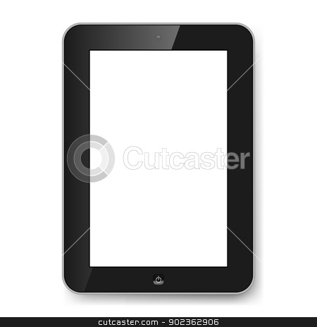 Gadget stock photo, Realistic tablet PC with blank screen. Illustration on white by dvarg