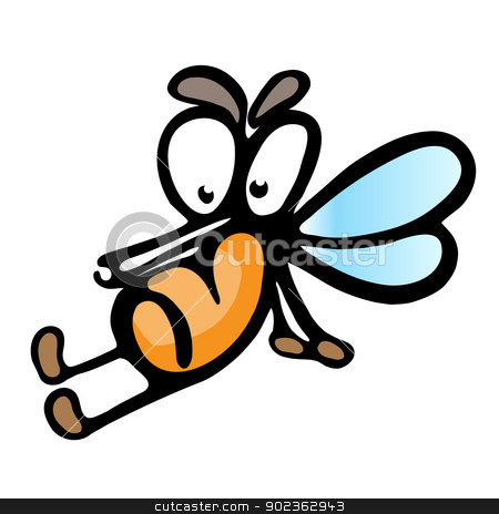 Cartoon mosquito stock photo, Cartoon mosquito.  Illustration on white background for design by dvarg