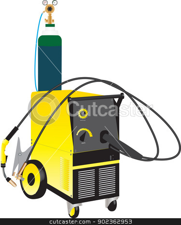 Mig Welder stock vector clipart, A Yellow Mig Electric Welding Set isolated on white by d40xboy