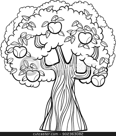 apple tree cartoon for coloring book stock vector