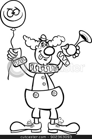 clown cartoon illustration for coloring stock vector clipart, Black and White Cartoon Illustration of Funny Clown with Balloon and Air Horn for Coloring Book by Igor Zakowski