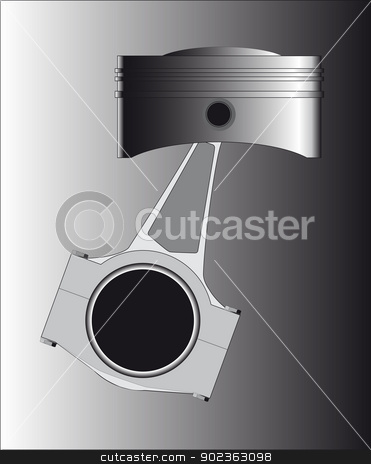Piston stock vector clipart, A piston from a petrol or diesel engine with the conecting rod in place. by Kotto