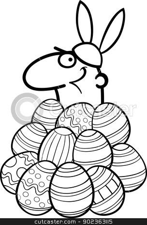 man as easter bunny cartoon for coloring stock vector clipart, Black and White Cartoon Illustration of Funny Man in Easter Bunny Costume in Easter Eggs heap for Coloring Book by Igor Zakowski