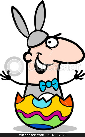 man in easter bunny costume cartoon stock vector clipart, Cartoon Illustration of Funny Man in Easter Bunny Costume in Easter Egg Eggshell by Igor Zakowski