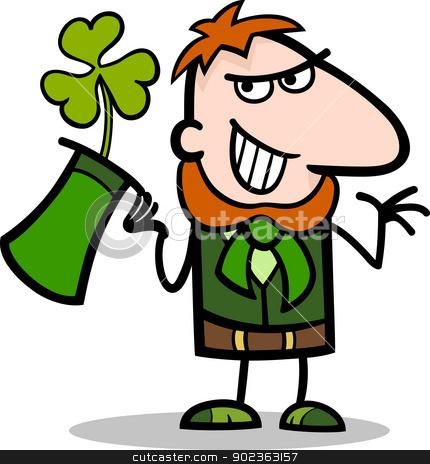 Leprechaun with clover cartoon illustration stock vector clipart, Cartoon Illustration of Happy Leprechaun with Green Clover or Trefoil in his Hat on St Patricks Day Holiday by Igor Zakowski