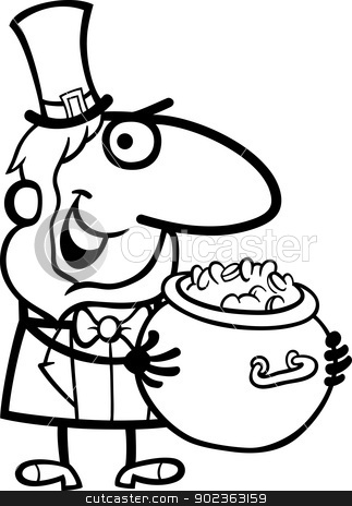 Leprechaun with gold cartoon for coloring stock vector clipart, Black and White Cartoon Illustration of Happy Leprechaun with Pot of Gold on St Patricks Day Holiday for Coloring Book by Igor Zakowski