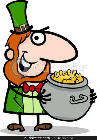 Leprechaun with gold cartoon illustration stock vector clipart, Cartoon Illustration of Happy Leprechaun with Pot of Gold on St Patrick Day Holiday by Igor Zakowski