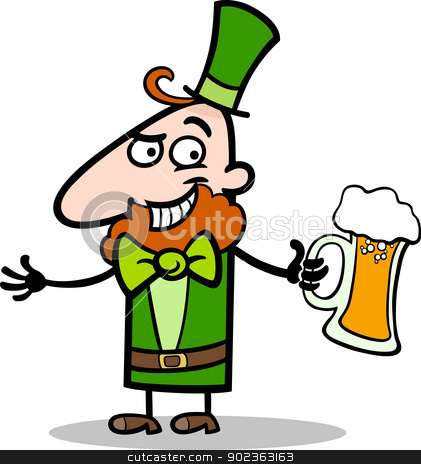 Leprechaun with beer cartoon illustration stock vector clipart, Cartoon Illustration of Happy Leprechaun with Mug of Beer on St Patricks Day Holiday by Igor Zakowski