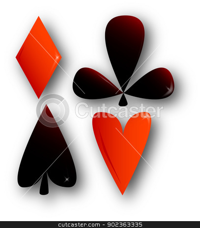 Four Aces stock vector clipart, The aces from the four suits of playing cards. by Kotto