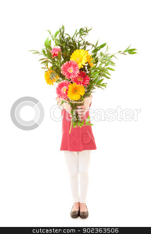 mothers day gift stock photo, child with bunch of  flowers as mothers day gift. by mandygodbehear