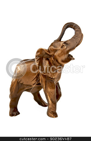 Elephant figurine stock photo, Metal elephant figurine isolated on white background by rezkrr