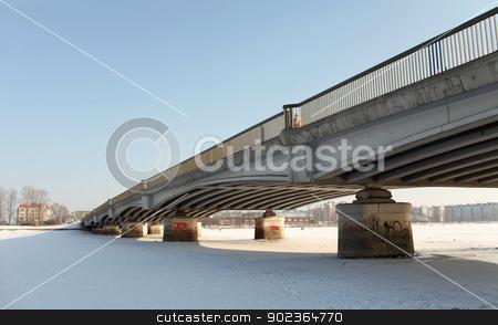 winter bridge stock photo, Bridge over frozen waters by mrivserg