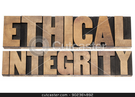 ethical integrity stock photo, ethical integrity  - isolated text in letterpress wood type printing blocks by Marek Uliasz
