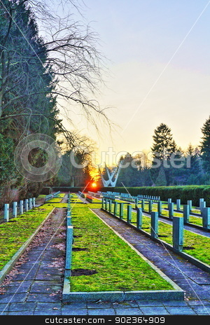 Cemetery at sunset HDR stock photo, Cemetery at sunset in Szczecin. HDR photography. - grain by MarcinSl1987