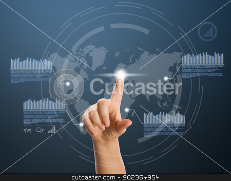 Digital concept stock photo, Woman hand pressing high tech type of modern buttons  by Grafvision
