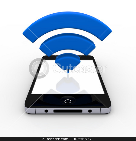 Smartphone with WiFi symbol stock photo, 3D illustration of WiFi symbol above smartphone with blank screen by Harvepino