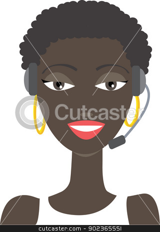 Africanamerican phone support stock vector clipart, Vector illustration of an Africanamerican phone support operator woman in headset. No gradients were used when creating his illustration. by anita
