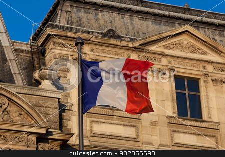 Flag of France, Louvre Museum, Paris, Ile de France, France stock photo, Flag of France, Louvre Museum, Paris, Ile de France, France by B.F.