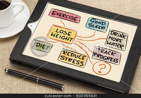 lose weight concept stock photo, lose weight mindmap - a sketch drawing on a digital tablet with a cup of coffee and stylus pen by Marek Uliasz
