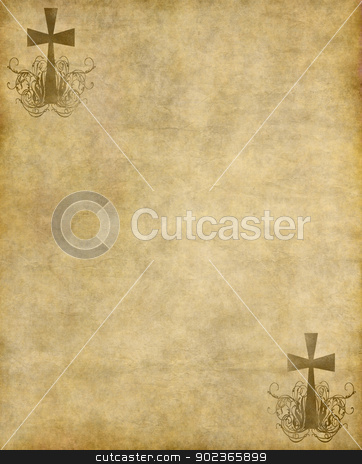 christian cross on old paper stock photo, christian cross on old paper or parchment background texture by Phil Morley