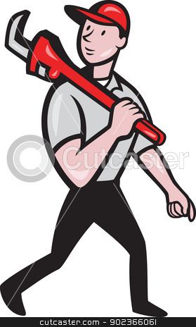 Plumber With Monkey Wrench Cartoon stock vector clipart, Illustration of a plumber with monkey wrench done in cartoon style on isolated background by patrimonio
