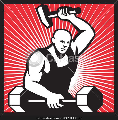 Blacksmith With Hammer Striking Barbell stock vector clipart, Illustration of a blacksmith with hammer forging striking a barbell set inside by patrimonio