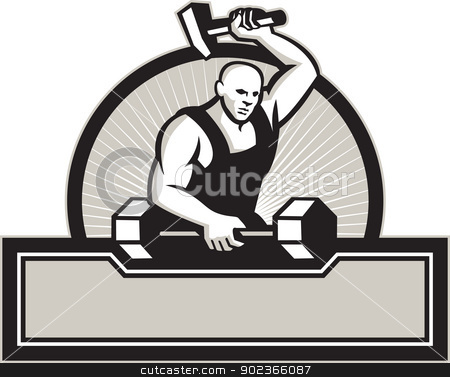 Blacksmith With Hammer Striking Barbell stock vector clipart, Illustration of a blacksmith with hammer forging striking a barbell set inside circle on isolated white background.  by patrimonio