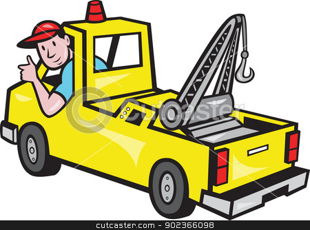 Tow Wrecker Truck Driver Thumbs Up stock vector clipart, Illustration of a tow truck wrecker with driver thumb up on isolated white background. by patrimonio