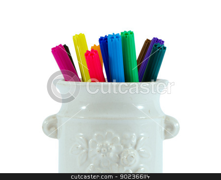 colorful felt tip pen glay cup isolated on white  stock photo, closeup of colorful felt tip pens in retro clay cup isolated on white background  by sauletas