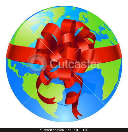 Globe world gift bow concept stock vector clipart, Illustration of a world globe with gift bow round it. Concept for opportunity or being given the world, or for the world being a precious gift. by Christos Georghiou