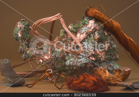 Copper stock photo, copper becomes very expensive and plunderings of electric cables become a problem. by Paire