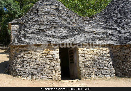 Bories of Breuil stock photo, The word borie was introduced into Perigord in the years 1970. The term authentically from Prigueux is Cabane. Boria meaning cattle shed to beef animals in langue d'oc, the borie would correspond more to one small smallholding. by Paire