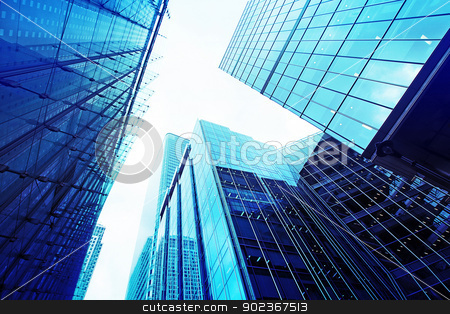Modern glass skyscrapers  stock photo, Modern glass silhouettes of skyscrapers in the city by Juliet Photography